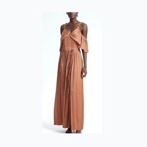 BR Pleated Off-the-Shoulder Maxi Dress